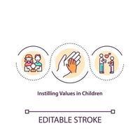 inculquer des valeurs à l'icône de concept d'enfants vecteur