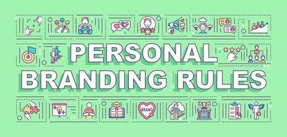 bannière de concepts de mots de règles de marque personnelle vecteur