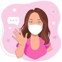 une jeune fille aux cheveux bruns dans un masque médical vecteur