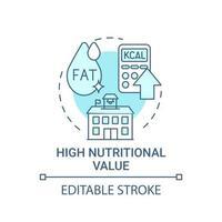 icône de concept à haute valeur nutritionnelle vecteur
