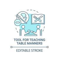 outil pour enseigner l'icône de concept de manières de table vecteur