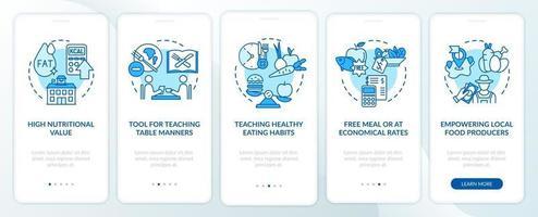 l'écran de la page de l'application mobile des règles de l'alimentation à l'école avec des concepts vecteur