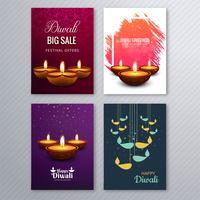 Affiche avec un diya pour le modèle de flyer coloré de diwali collectio