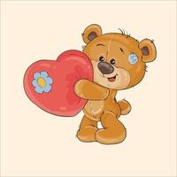 conception de vecteur d'ours en peluche amoureux