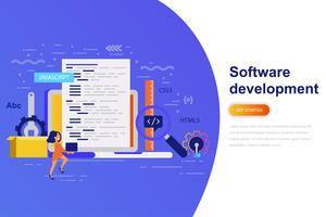 Bannière web de développement logiciel concept plat moderne avec le personnage décoré de petites personnes. Modèle de page de destination.
