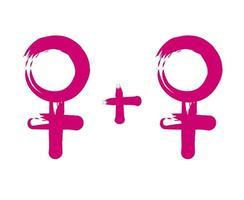 symbolisme lesbien. Deux sex-symbols féminins roses isolés sur une illustration de background.vector blanc vecteur