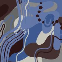 abstrait moderne avec des formes abstraites organiques, des points, des taches dans des tons bleus froids. illustration vectorielle dessinés à la main. conception de blogs, couvertures, publicité, emballage vecteur