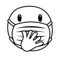 emoji réfléchi portant un style de ligne de masque médical vecteur