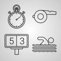 jeu d'icônes de ligne de sports et de jeux isolé sur blanc. symboles de contour sports et jeux vecteur