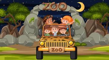 safari de nuit avec de nombreux enfants dans une jeep vecteur