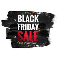 Affiche de vente vendredi noir avec texte rouge sur le coup de pinceau grunge ba