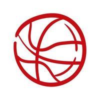 icône de style de dessin à la main ballon de basket-ball vecteur