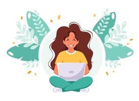 femme assise avec un ordinateur portable indépendant travaillant à distance concept de bureau à domicile vecteur