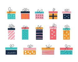 ensemble d'images vectorielles de coffrets cadeaux colorés de différentes tailles sur fond blanc avec des arcs dans le style de griffonnages plats décor de chambre d'enfants affiches cartes postales vêtements et objets d'intérieur vecteur