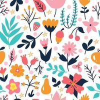 plantes et fleurs aux couleurs vives. motif floral sans couture de vecteur sur fond blanc dans un style plat doodle. papier peint, conception de papier d'emballage et impression de tissu