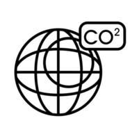planète avec icône de style de ligne co2 vecteur