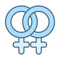 icône bleue de remplissage de ligne de relation lesbienne féminine de santé sexuelle vecteur