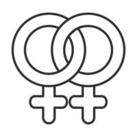 icône de ligne de relation lesbienne femme santé sexuelle vecteur