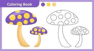 champignon de livre de coloriage vecteur