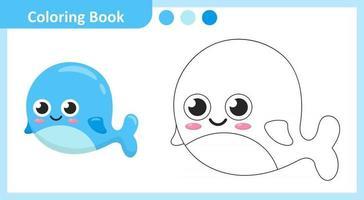 livre de coloriage baleine vecteur