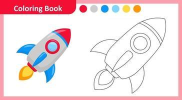 livre de coloriage fusée vecteur