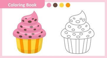 petit gâteau de livre de coloriage vecteur