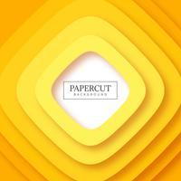 Vecteur de fond abstrait papercut rayures jaunes