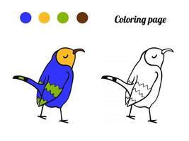 illustration d'oiseau mignon. coloriage ou livre pour bébé. vecteur