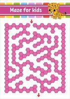 labyrinthe de couleur rectangulaire. jaguar tacheté. jeu pour les enfants. labyrinthe amusant. feuille de travail de développement de l'éducation. page d'activité. casse-tête pour les enfants. personnage de dessin animé. énigme logique. illustration vectorielle. vecteur