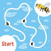 jeu de puzzle logique. apprendre des mots pour les enfants. abeille rayée trouve le nom caché. feuille de travail de développement de l'éducation. page d'activité pour étudier l'anglais. illustration vectorielle isolée. style de bande dessinée. vecteur