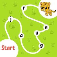 jeu de puzzle logique. jaguar tacheté. apprendre des mots pour les enfants. trouver le nom caché. feuille de travail de développement de l'éducation. page d'activité pour étudier l'anglais. illustration vectorielle isolée. style de bande dessinée. vecteur