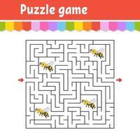 labyrinthe carré. jeu pour les enfants. puzzle d'abeille rayé pour les enfants. énigme du labyrinthe. illustration vectorielle de couleur. trouver le bon chemin. illustration vectorielle isolée. personnage de dessin animé. vecteur