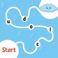 jeu de puzzle logique. drôle de nuage. apprendre des mots pour les enfants. trouver le nom caché. feuille de travail de développement de l'éducation. page d'activité pour étudier l'anglais. illustration vectorielle isolée. style de bande dessinée. vecteur