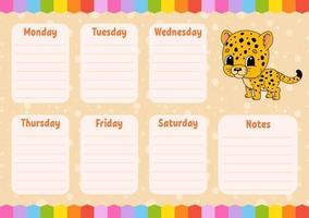 horaire d'école. emploi du temps pour les écoliers. jaguar tacheté. modèle vide. rabot hebdomadaire avec notes. illustration vectorielle de couleur isolée. personnage de dessin animé. vecteur