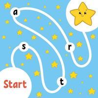 jeu de puzzle logique. étoile de la bande dessinée. apprendre des mots pour les enfants. trouver le nom caché. feuille de travail de développement de l'éducation. page d'activité pour étudier l'anglais. illustration vectorielle isolée. style de bande dessinée. vecteur