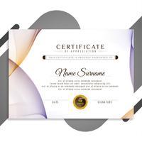 Modèle de certificat abstrait ondulé coloré