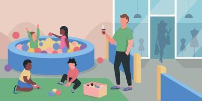 Centre commercial aire de jeux télévision vector illustration couleur