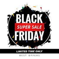 Beau vecteur de conception affiche vente vendredi abstrait noir