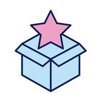 urne de dons avec ligne de solidarité en étoile et style de remplissage vecteur