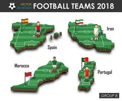 équipes nationales de football 2018 joueur de football du groupe b et drapeau sur la carte de pays de conception 3d vecteur de fond isolé pour le concept de tournoi de championnat du monde international 2018