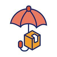 ligne de protection parapluie et icône de style de remplissage vecteur