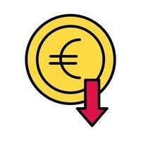 pièce en euro avec flèche vers le bas et style de remplissage vecteur
