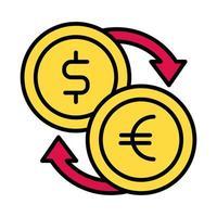 style de ligne et de remplissage des pièces en dollars et en euros vecteur
