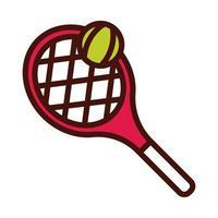 raquette de tennis et ligne de balle et icône de remplissage vecteur