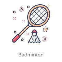 volant de badminton avec raquette vecteur