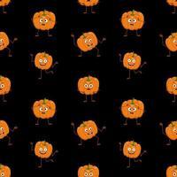 jolies citrouilles sombres et transparentes avec visage, émotions heureuses, bras et jambes. décoration de fête d'halloween. fond festif pour le papier, le textile, les vacances et le design vecteur