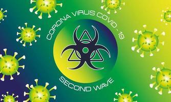 affiche de la deuxième vague du virus corona avec particules vertes et signal de danger biologique vecteur