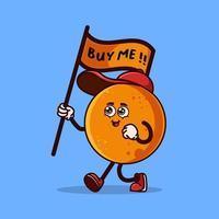 mignon personnage de fruit orange portant un drapeau qui dit achetez-moi. concept d'icône de caractère de fruits isolé. autocollant emoji. vecteur de style dessin animé plat