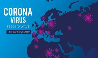 affiche de la deuxième vague du virus corona avec des cartes des vieux continents vecteur