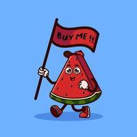 personnage mignon de fruit de pastèque portant un drapeau qui dit achetez-moi. concept d'icône de caractère de fruits isolé. autocollant emoji. vecteur de style dessin animé plat